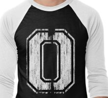 White Distressed Sports Number 0 Men's Baseball ¾ T-Shirt