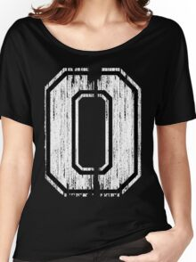 White Distressed Sports Number 0 Women's Relaxed Fit T-Shirt