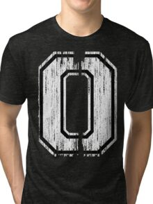 White Distressed Sports Number 0 Tri-blend T-Shirt