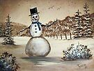 Snowman in Acrylic by teresa731