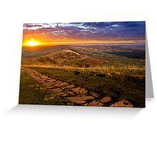 Sunrise On Mam Tor Derbyshire Greeting Card