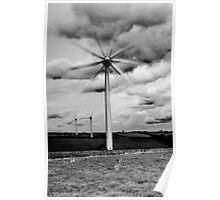 Wind Turbines in Monochrome Poster