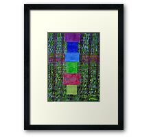 Piled Blocks within picturesque Painting and Stripes Framed Print