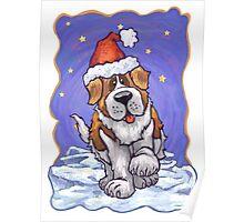 St. Bernard Christmas Poster