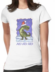 Tyrannosaurus Christmas Card Womens Fitted T-Shirt