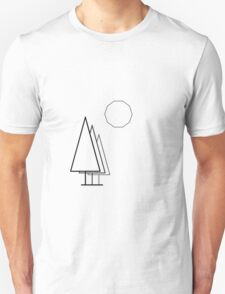 Dark linear Trees and Moon. T-Shirt