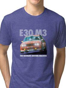 BMW E30 M3 DTM Racer (BASTOS) - White Text Tri-blend T-Shirt