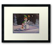 Snowmen in Acrylic 2 Framed Print