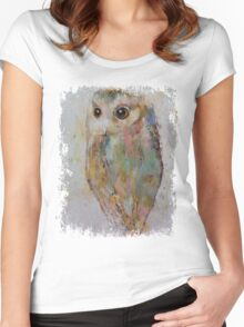 Owl Painting Women's Fitted Scoop T-Shirt