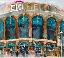 CitiField - Mets Watercolor Print by Dorrie  Rifkin