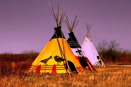 Three Teepees by Larry Trupp