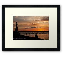 Alone Time - Young Girl Watching Sunset Framed Print