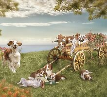 Welshie and his pups enjoy the garden by KibblyWibbly