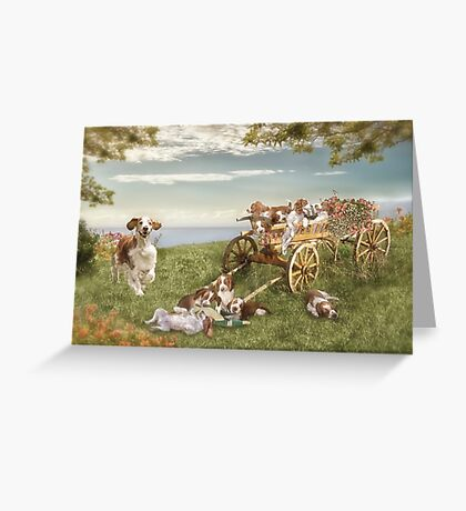 Welshie and his pups enjoy the garden Greeting Card
