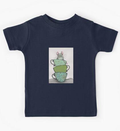 Peek-a-boo (mouse in teacup) Kids Tee