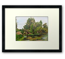 Warwick Castle's, Ancient Bridge. Warwickshire, England Framed Print