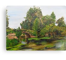 Warwick Castle's, Ancient Bridge. Warwickshire, England Canvas Print