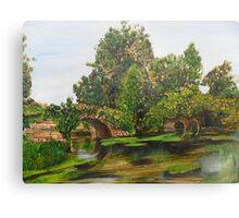 Warwick Castle's, Ancient Bridge. Warwickshire, England Canvas Print