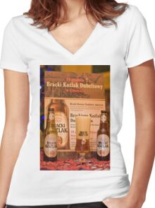 Offers good beer!!! Women's Fitted V-Neck T-Shirt
