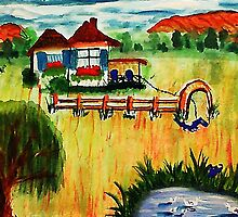 The dog , cat, and ducks,,,cat could win,,, watercolor by Anna  Lewis, blind artist