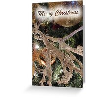 Christmas Tree Ornaments Greeting Card ~ Frosty Branches & Gold Baubles w/ Xmas Lights ~ Holiday Season Decorations  Greeting Card