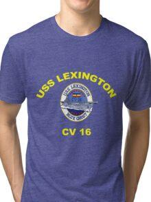 USS Lexington CV 16 Crest for Dark Colors Tri-blend T-Shirt