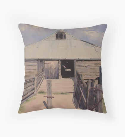 Old Shearing Shed. Mungo Station Throw Pillow