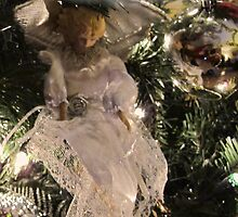 Christmas Angel Ornament Greeting Card ~ Silver Xmas Ball w/ Tree Lights ~ Religious Holiday Decor by Chantal PhotoPix
