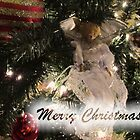 Merry Christmas Greeting Card, Silver Xmas Ball w/ Tree Lights ~ Christmas Angel Ornaments ~ Religious Holiday Season by Chantal PhotoPix