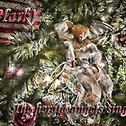 Religious Holiday Ornaments Decor ~ Christmas Angels, Silver, Gold & Burgundy Xmas Baubles w/ Tree Lights  by Chantal PhotoPix