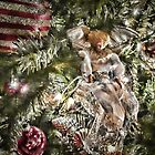 Vignette - Silver, Gold & Burgundy Christmas Balls & Angel w/ Holiday Lights ~ Xmas Trimmings, Religious Tree Ornament by Chantal PhotoPix