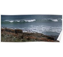 waves at Nettle Bay - far nw Tasmania  Poster