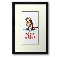 calvin and hobbes hug Framed Print