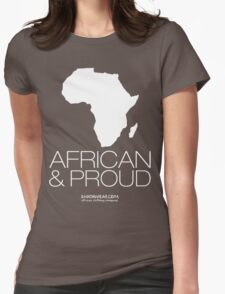 African & proud (white) Womens Fitted T-Shirt