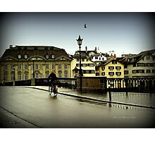 Cycling in the Rain Photographic Print
