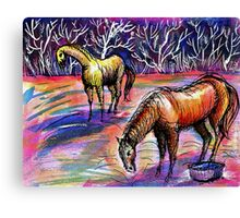 Autumn Morning With Horses Canvas Print