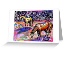 Autumn Morning With Horses Greeting Card