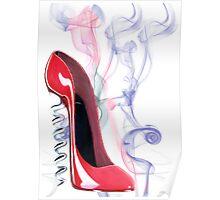 Corkscrew Heel Red Stiletto Shoe Smokin'! Poster