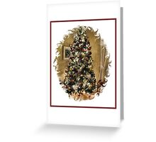 Golden Holiday Display Frame ~ Decorative Christmas Tree w/ Shiny Ornaments & Xmas Lights in a Warm Atmosphere Greeting Card