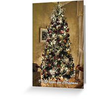 Gold Holiday Display ~ Christmas Tree Decor w/ Shiny Baubles & Xmas Lights in a Warm Atmosphere Greeting Card