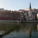 Passerelle St-Georges, and Vieux Lyon panorama by Andrew Jones