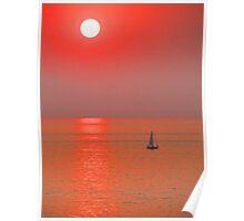 A boat in a red ocean - Una lancha en un oceanó rojo, Puerto Vallarta, Mexico Poster