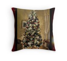 Framed. Glowing Christmas Scenes ~ Decorative Tree w/ Shiny Xmas Balls & Holiday Lights ~ Gold Background  Throw Pillow