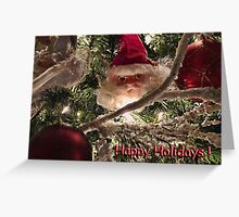 Jolly Saint Nick Tree Trimming - Christmas Ornaments w/ Red Xmas Balls, Lights & Frosted Branch Garland  Greeting Card