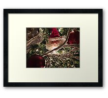 Vignetting Effect. Frosted Branch Garland, Red Christmas Baubles, Xmas Lights & Santa Claus Tree Ornaments Framed Print