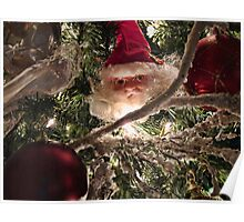 Vignetting Effect. Frosted Branch Garland, Red Christmas Baubles, Xmas Lights & Santa Claus Tree Ornaments Poster