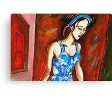 Portrait of my daughter walking Canvas Print