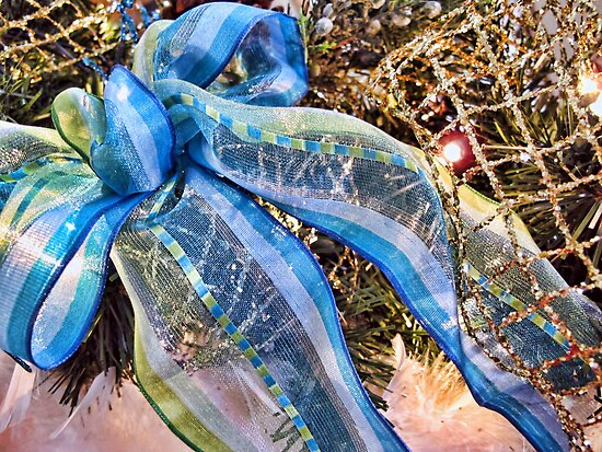 Blue & Silver Christmas Bow ~ Trendy New Year Holiday Gifts w/ Gold Mesh Ribbon, Fluffy Feathers & Xmas Lights by Chantal PhotoPix