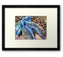 Blue & Silver Christmas Bow ~ Trendy New Year Holiday Gifts w/ Gold Mesh Ribbon, Fluffy Feathers & Xmas Lights Framed Print