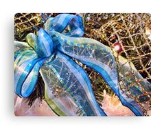 Blue & Silver Christmas Bow ~ Trendy New Year Holiday Gifts w/ Gold Mesh Ribbon, Fluffy Feathers & Xmas Lights Canvas Print